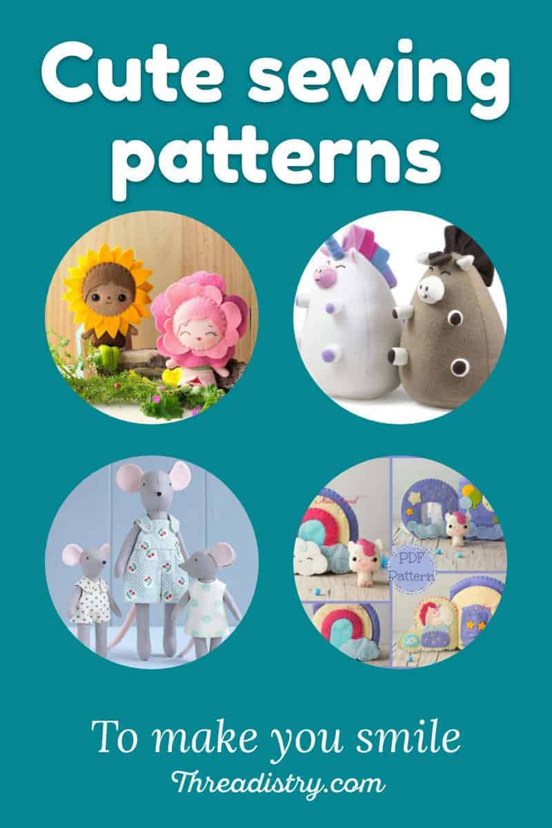 Cute sewing patterns, including unicorns, mice and flower fairies