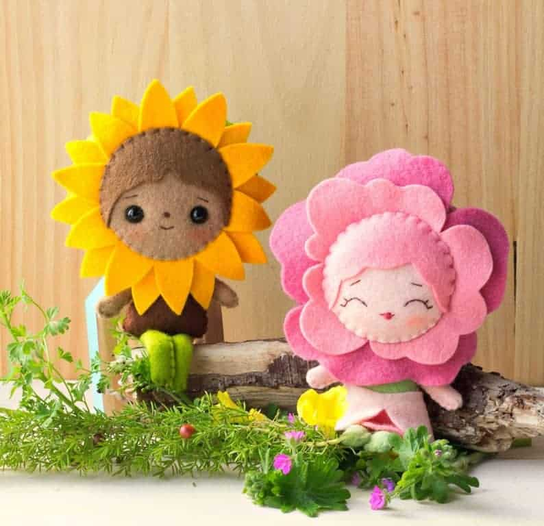 Rose and Sunflower fairy dolls sewing pattern