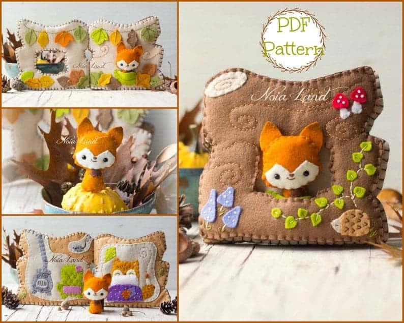 Fox toy with tree house quiet book sewing pattern