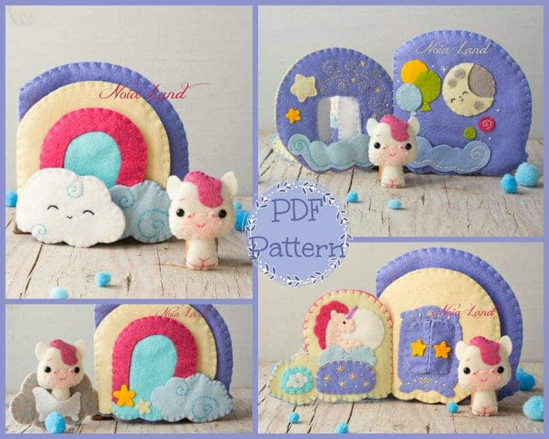 Unicorn toy with rainbow house quiet book sewing pattern