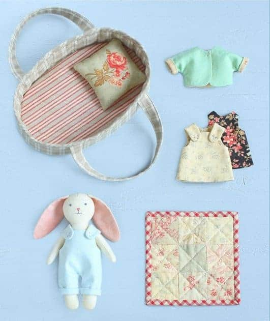 Bunny sewing pattern with basket and clothes