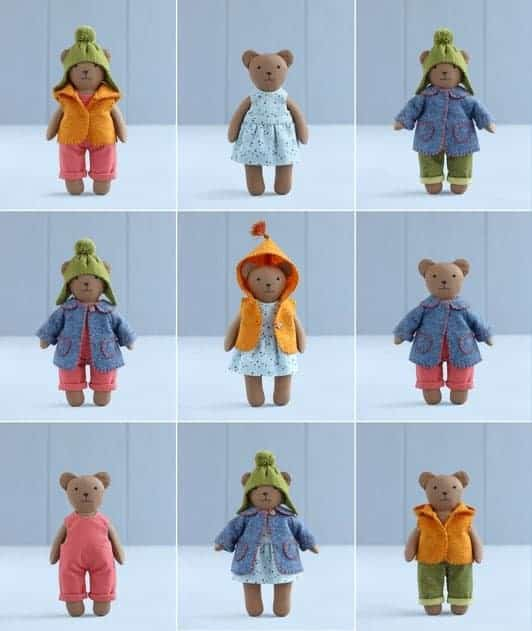 Mini bear sewing pattern with set of clothes