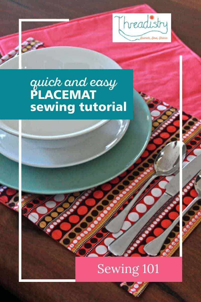 Two cotton fabric placemats with a bowl, plates and cutlery. Text overlay says: Quick and easy placemat sewing tutorial.