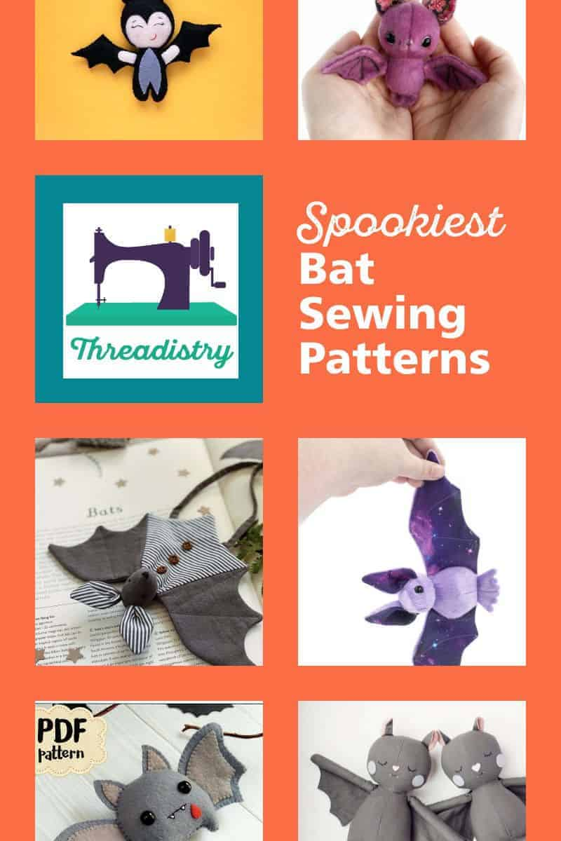 """Collage of bat plush toys with overlay text """"Spookiest bat sewing patterns"""""""