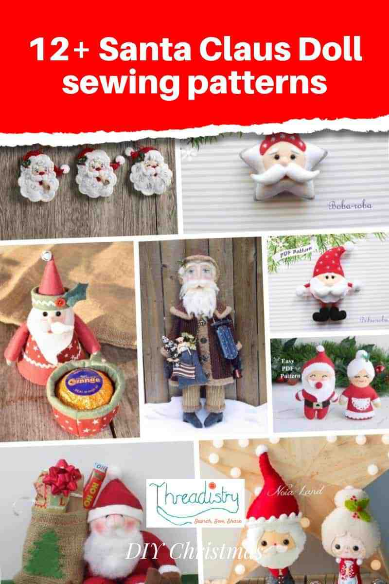 Collage of Santa Claus doll sewing patterns