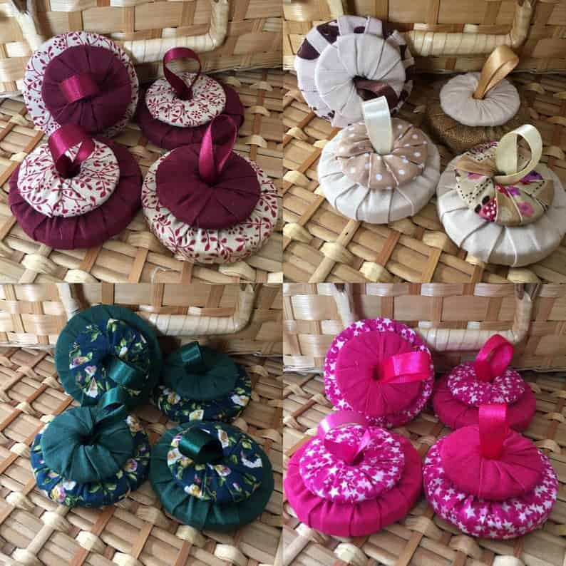 Fabric-covered sewing pattern weights from Laney Creations Design
