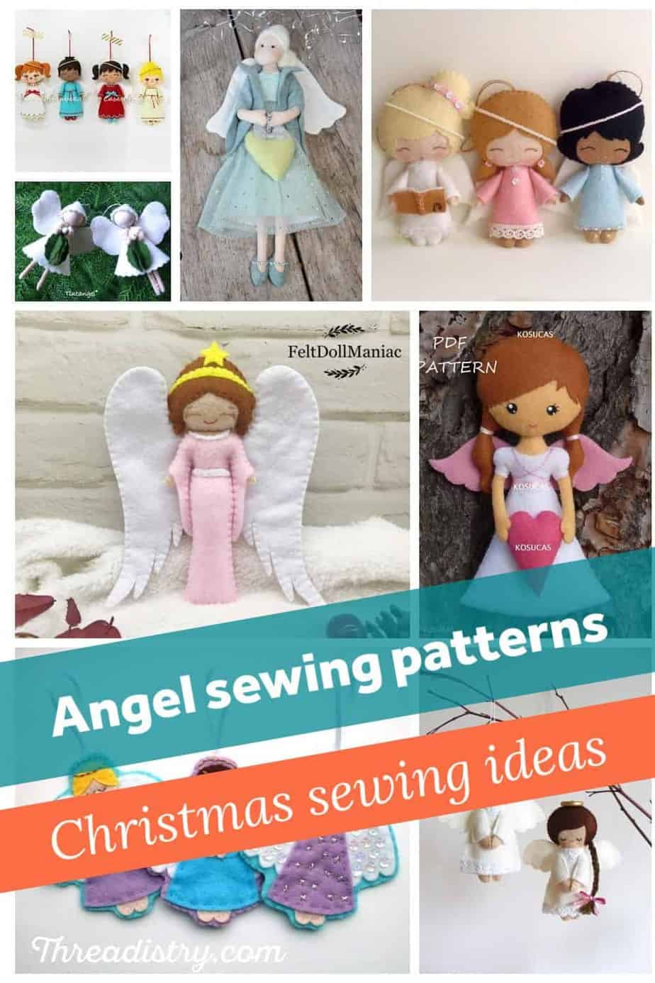 """Collage of handmade angels with text overlay """"Angel sewing patterns"""" and """"Christmas sewing ideas""""."""