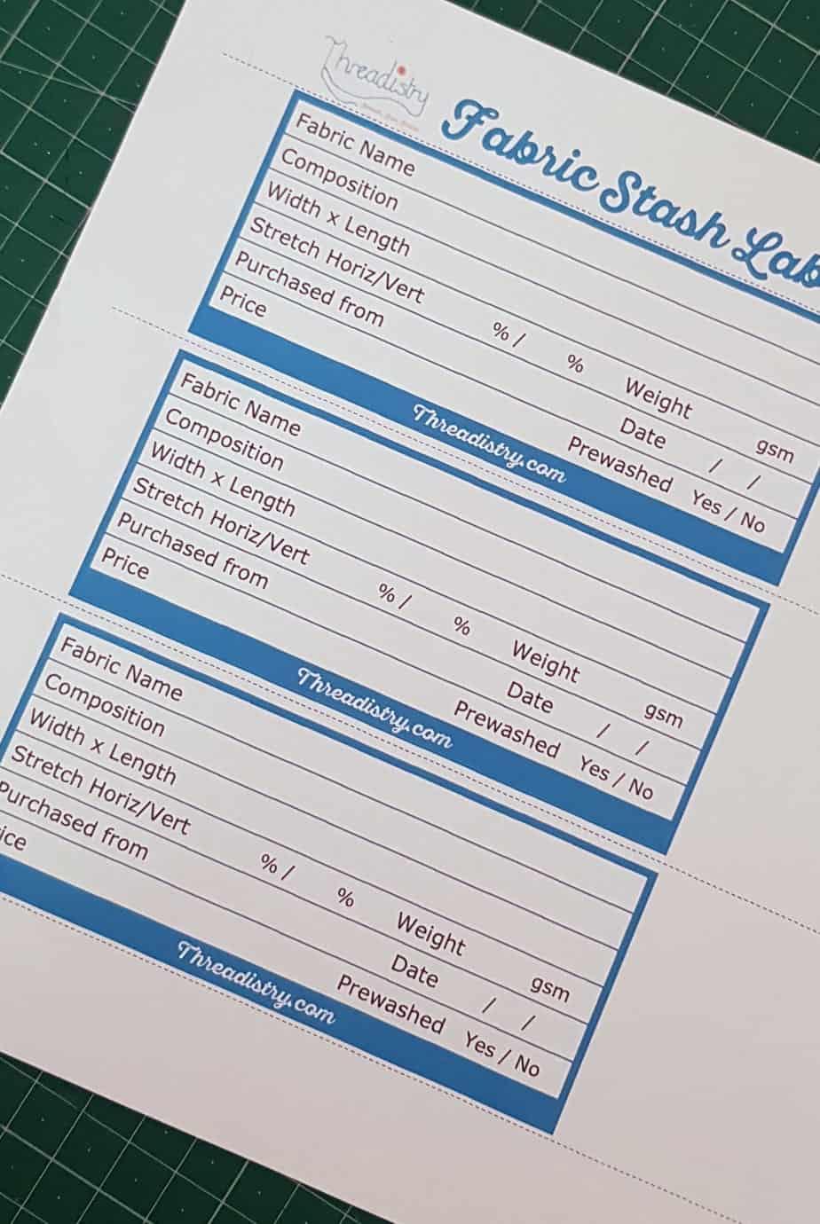 printable fabric stash labels