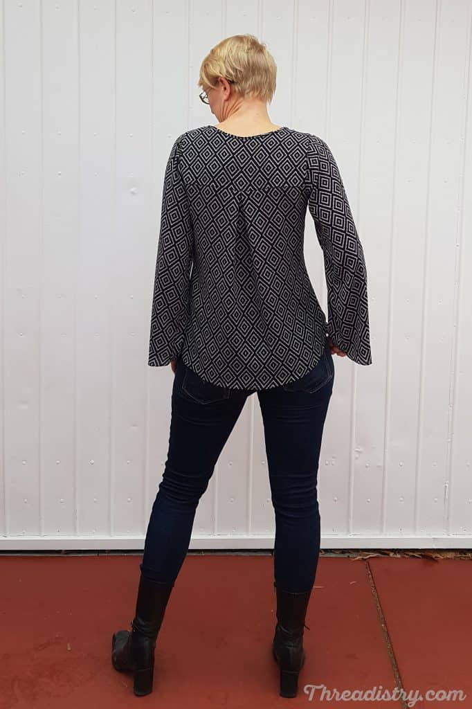 Back view of the Rhapsody Blouse sewing pattern from Love Notions