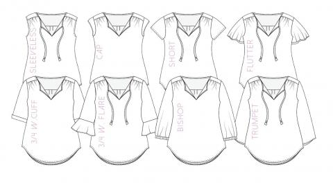 Line drawings for different sleeve options for the Rhapsody Blouse sewing pattern from Love Notions.