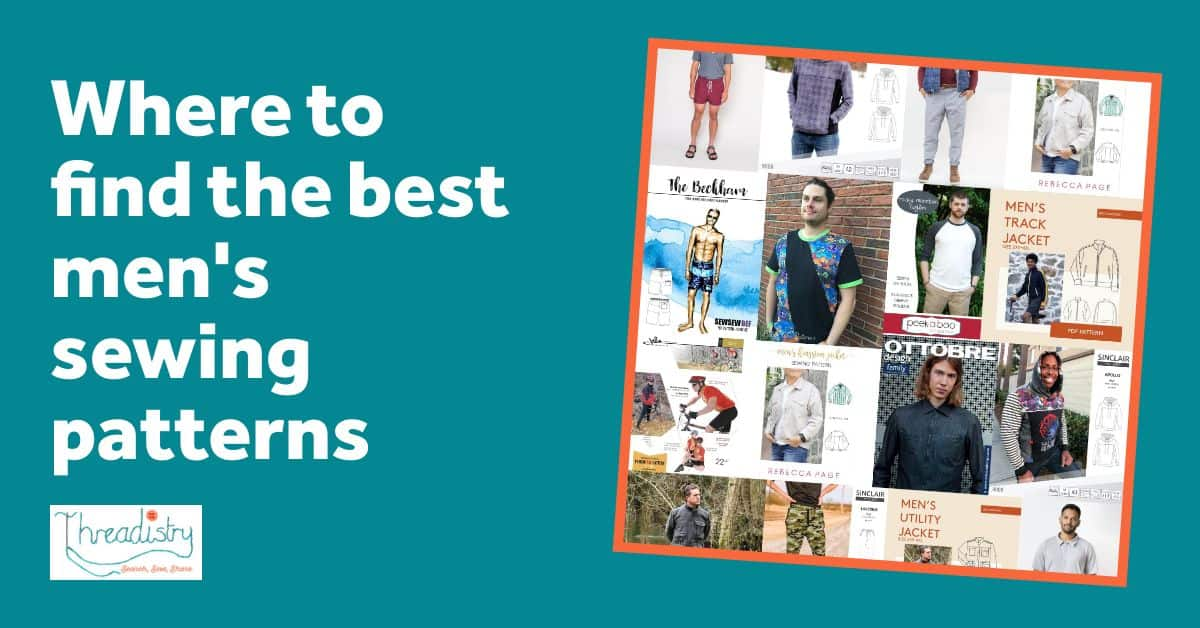 """Collage of men's sewing pattern covers with text overlay """"where to find the best men's sewing patterns"""""""