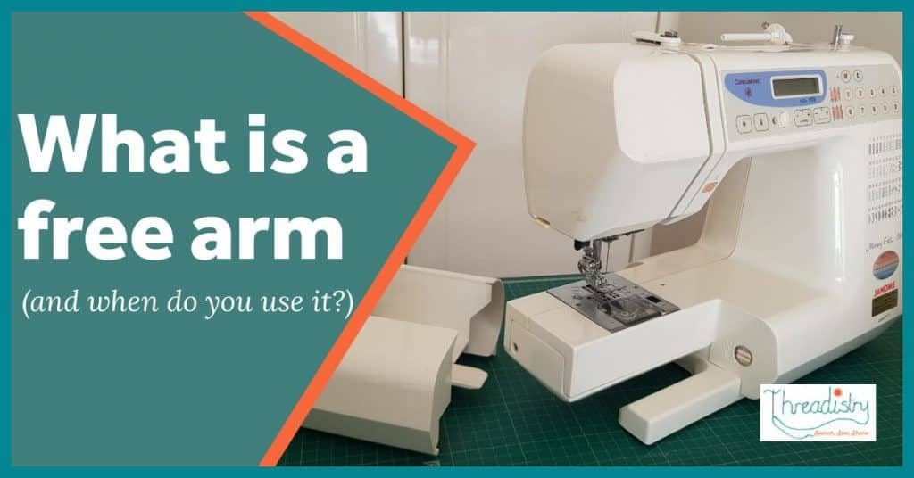 Sewing machine showing the free arm