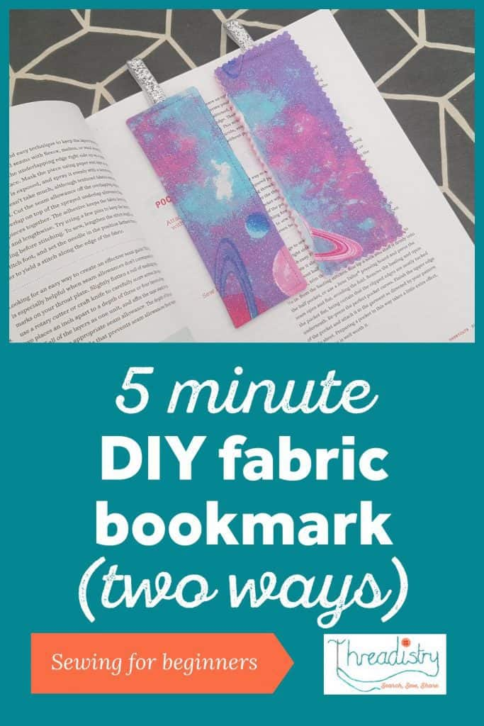 Two handmade fabric bookmarks lying on an open book
