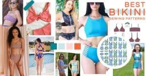 Collage of bikini sewing patterns for women
