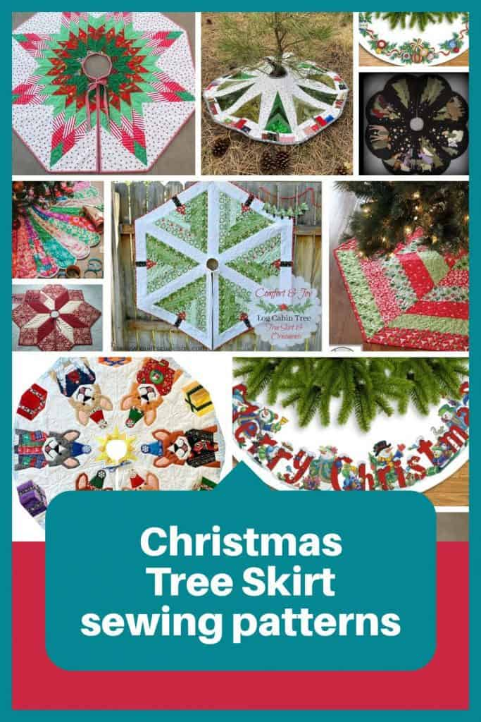 Collage of Christmas Tree skirts with text overlay Christmas tree skirt sewing patterns