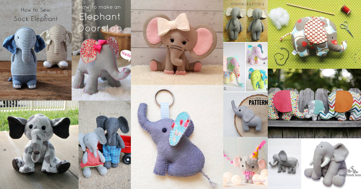 Collage of stuffed elephant sewing patterns