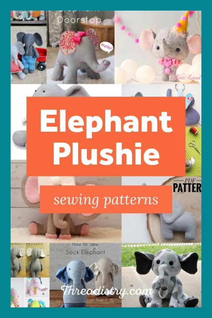 collage of elephant plush sewing patterns