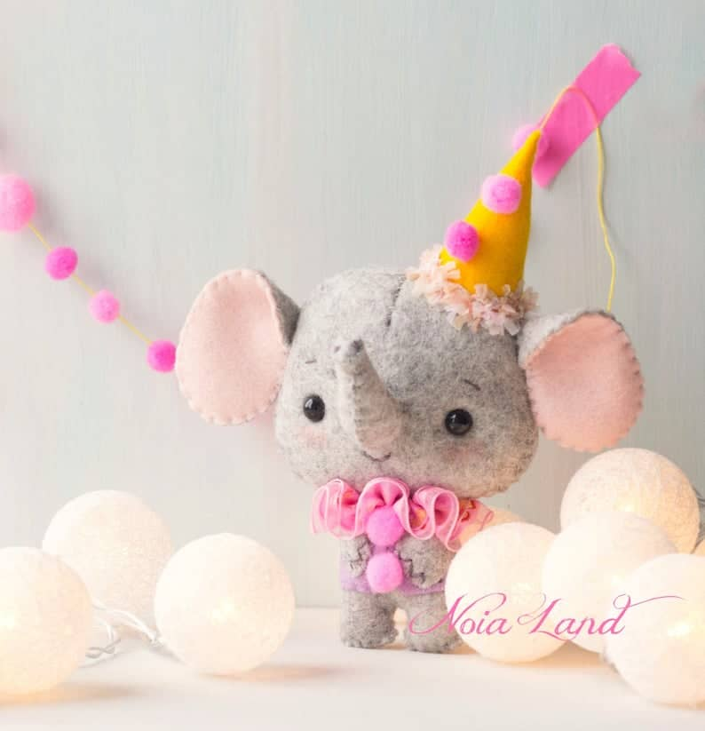 Felt elephant in circus outfit