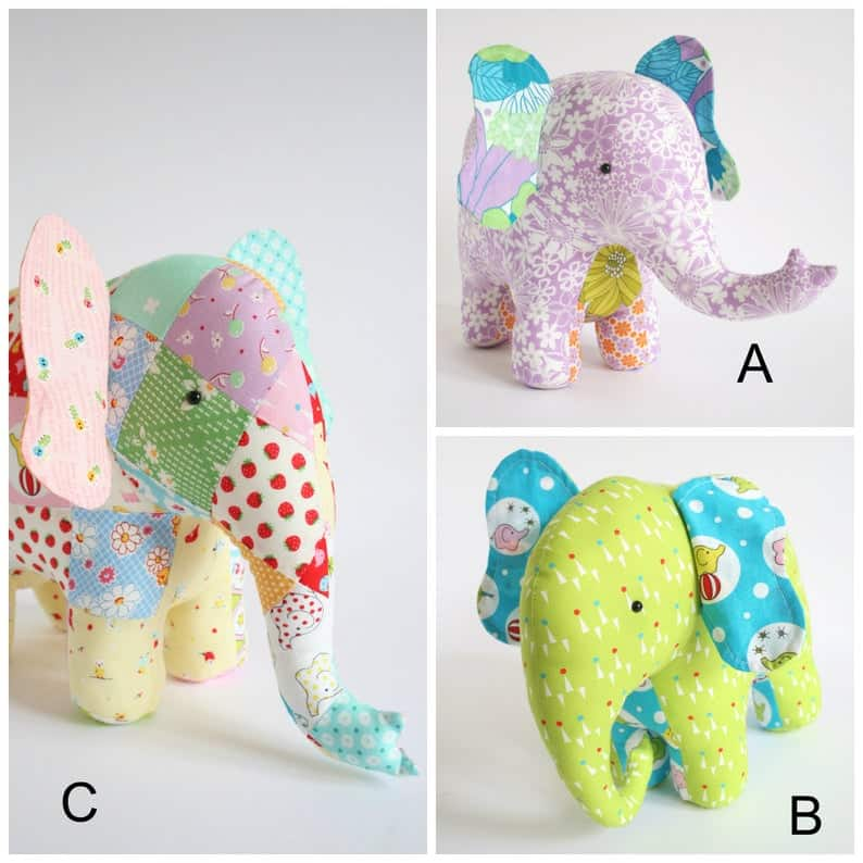 Three stuffed elephants in colourful fabric with different trunk positions