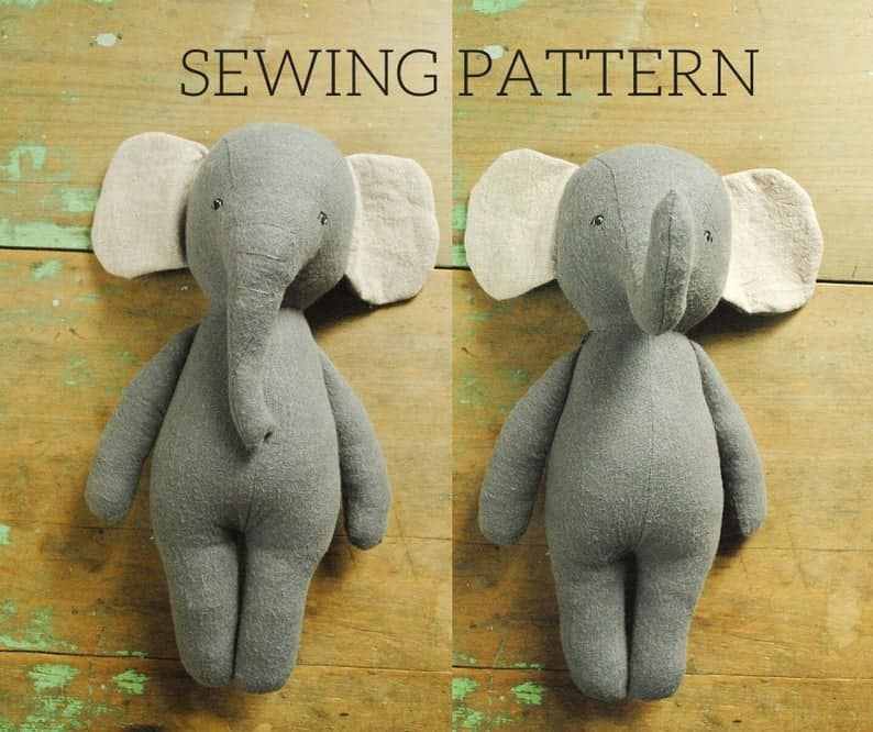 Two elephant doll sewing patterns, one with raised trunk, one lowered.