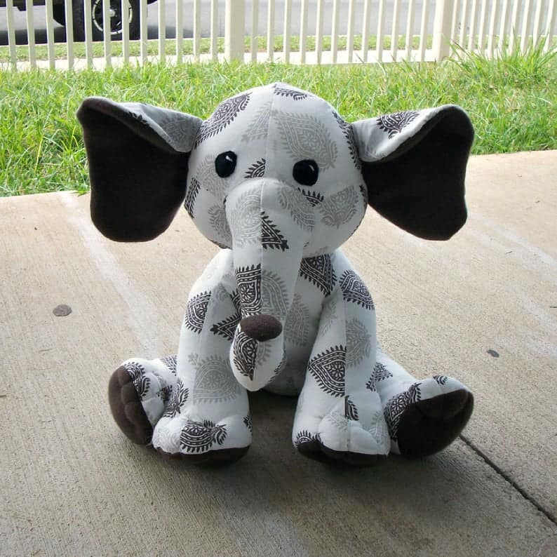 Huggable elephant sewing pattern