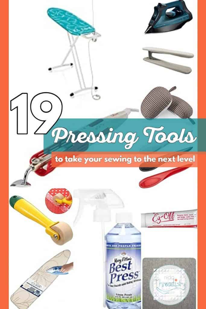 """Collage of pressing tools with text overlay """"19 pressing tools to take your sewing to the next level."""