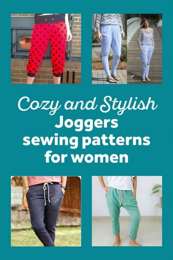 Collage of women's joggers sewing patterns