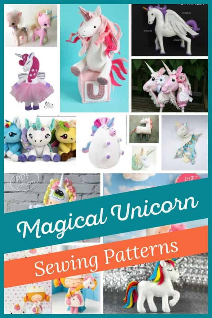 Collage of the cutest unicorn sewing patterns